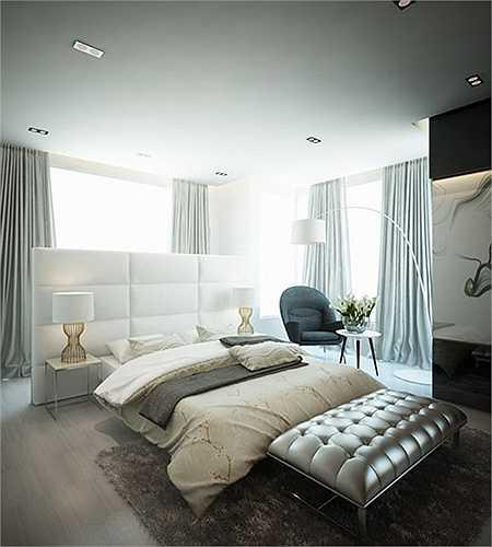 Toàn bộ ngôi nhà từ phòng ngủ, phòng khách, khu vực nhà bếp, phòng ăn đều có chung tông màu chủ đạo là màu trắng, toát lên sự sang trọng và thuần khiết.