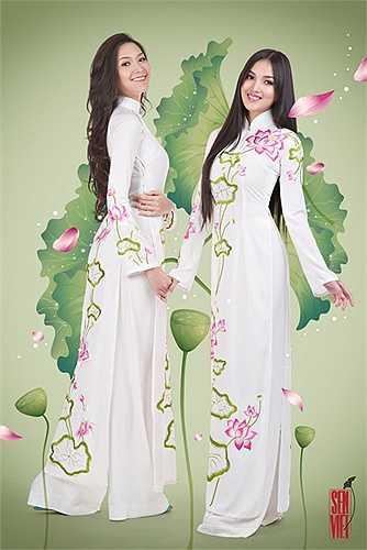 Đây là 2 màu của hoa sen là trắng và hồng sen được đi cùng với màu xanh của lá.