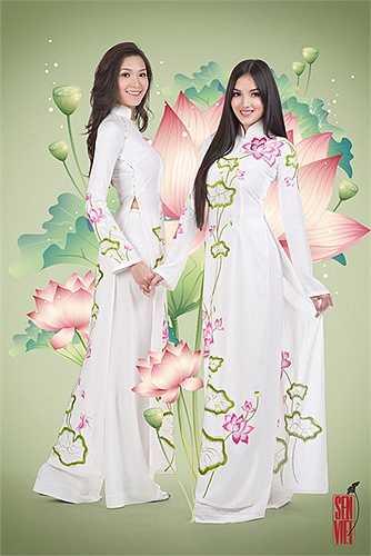 Áo dài được thiết kế theo phong cách truyền thống , toát lên được vẻ đẹp của người phụ nữ Việt Nam.