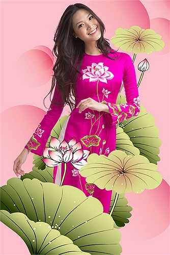 Hình hoa sen được giữ nguyên bản không cách điệu để mang được vẻ tinh khôi của loài hoa này.