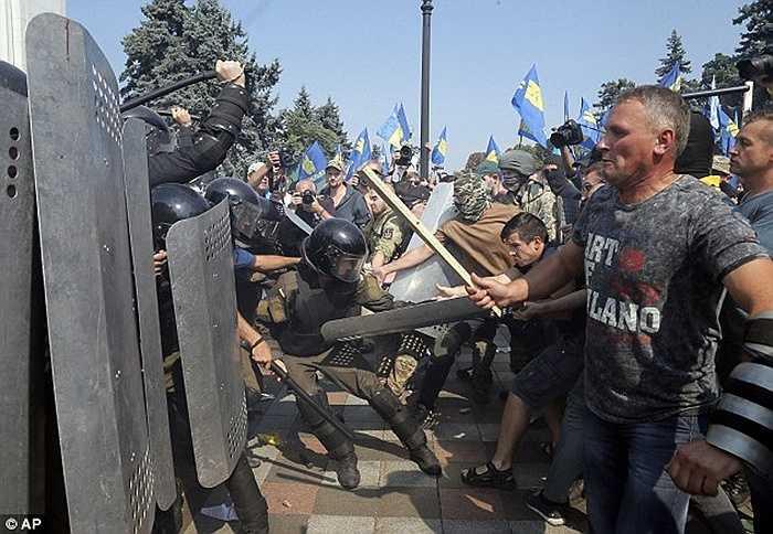 Cuộc biểu tình này nhằm phản đối lại việc sửa đổi Hiến pháp vừa được Chính phủ Ukraine thông qua ít ngày trước