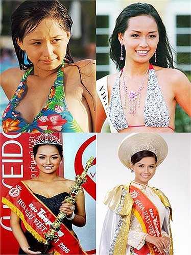 Hoa hậu Việt Nam 2006 ngày càng trẻ đẹp hơn so với thời điểm đăng quang. Việc cô đăng quang cũng từng gây nhiều tranh cãi bởi nước da ngăm đen, hàm răng khấp khểnh và vòng 1 khiêm tốn.