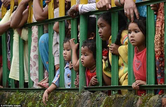 Vẻ mặt chăm chú của những đứa trẻ khi khi tham gia vào lễ hội giết dê ở Nepal