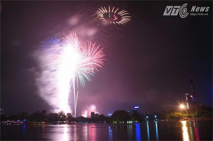 Đúng 21h, màn pháo hoa tầm cao ở Công viên Thống Nhất bắt đầu