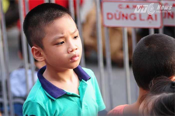 Cậu bé may mắn chen được lên sát hàng rào xem diễu binh