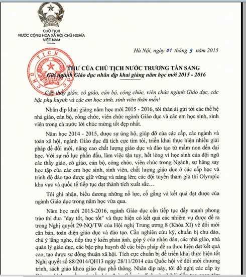 Chủ tịch nước Trương Tấn Sang gửi ngành giáo dục nhân dịp khai giảng năm học mới 2015-2016.
