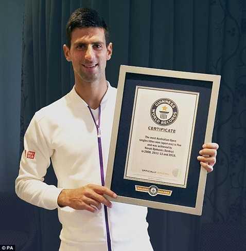 Djokovic nhận chứng chỉ vô địch giải Australia mở rộng nhiều lần nhất