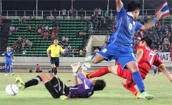 Thủ thành Thanh Tuấn của U19 Việt Nam dù chơi đầy nỗ lực vẫn phải 6 lần vào lưới nhặt bóng.