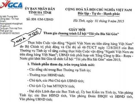 Ảnh giấy mời của Chánh văn phòng UBND tỉnh Hà Tĩnh dùng dấu hỏa tốc yêu cầu lãnh đạo tham dự lễ hội bia.