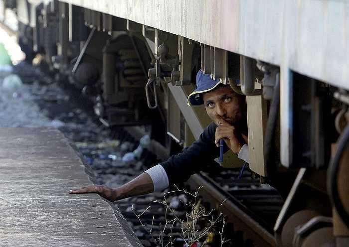 Một người đàn ông bất chấp nguy hiểm cố lẻn lên tàu đến Serbia tại một nhà ga ở thị trấn Gevgelija, Macedonia