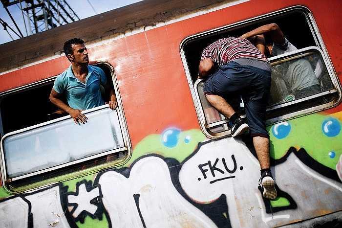 Bất chấp tính mạng leo lên đoàn tàu từ phía cửa sổ
