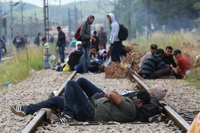 Cảnh người di cư vạ vật chờ đợi để có cơ hội qua biên giới Hy Lạp - Macedonia
