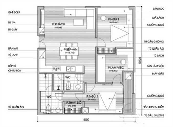 Sơ đồ thiết kế nội thất căn hộ chung cư diện tích 90m2.