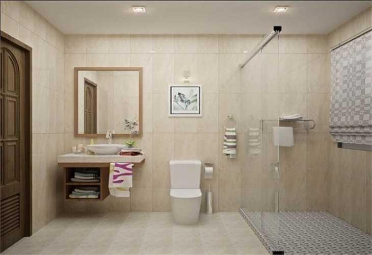 Nhà vệ sinh sử dụng gam màu sáng, trẻ trung và hiện đại.