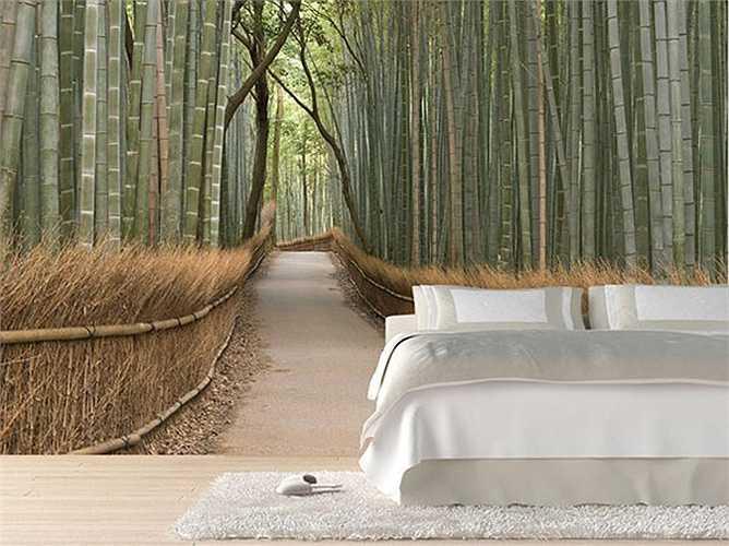 Với những bức tranh dán tường 3D sinh động, căn phòng trở nên gần gũi với thiên nhiên