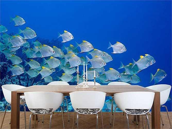 Với tấm giấy dán tường 3D này, bạn cảm giác như mình đang ngồi thưởng thức bữa tối ngay giữa biển cả