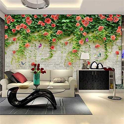Bức tranh tường giàn hoa hồng leo giống như thật trong phòng khách