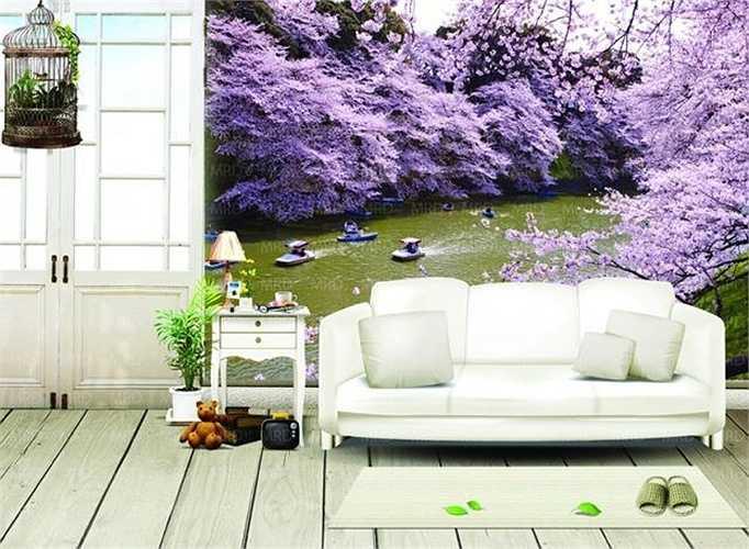 Tranh phong cảnh non nước tạo không khí tươi vui, sinh động cho căn phòng