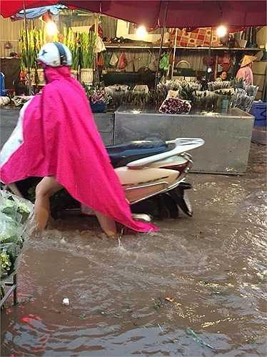 Chợ hoa Quảng Bá (quận Tây Hồ) ngập sâu trong nước, xe máy phải dắt bộ mới có thể đi qua.