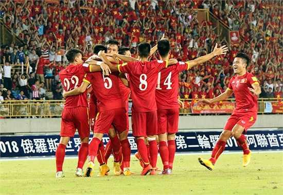 Niềm vui của các cầu thủ Việt Nam. (Ảnh: VFF)