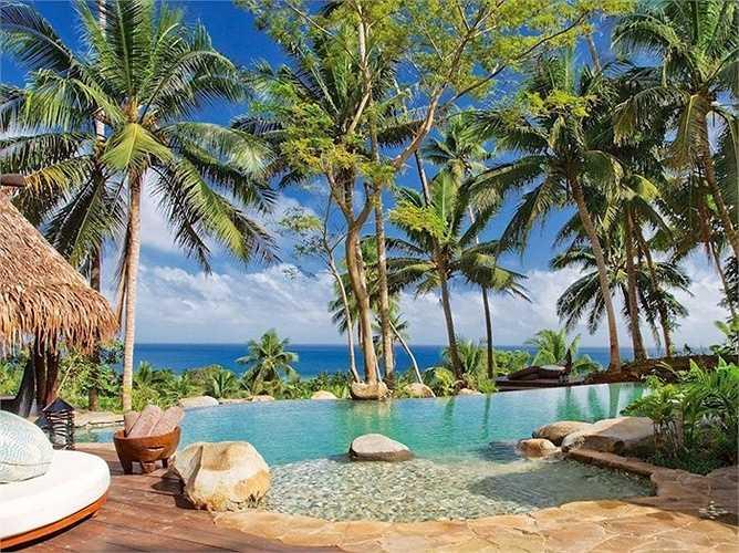 Hilltop Estate ở Laucala Island Resort, Fiji: Khách được tắm ở bãi biển riêng, dịch vụ quản gia 24 giờ/ngày, sân golf 72 lỗ. Giá 40.000/đêm