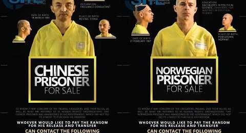 Hình ảnh hai con tin người Trung Quốc và Na Uy bị IS bắt cóc