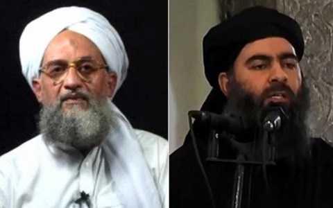 Thủ lĩnh al-Qaeda Zawahiri  (trái) và thủ lĩnh IS Abu Bakr al-Baghdadi
