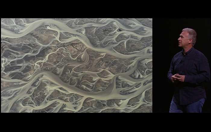 Đây là một bức ảnh 'không thể tin nổi' khác. iPhone được đặt để chụp hình một lưu vực sông từ một chiếc máy bay