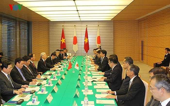 Tại Phủ Thủ tướng Nhật Bản, Tổng Bí thư Nguyễn Phú Trọng đã hội đàm với Thủ tướng Shinzo Abe