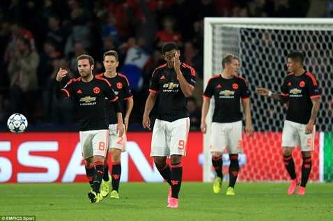 MU thất bại trong lần trở lại Champions League