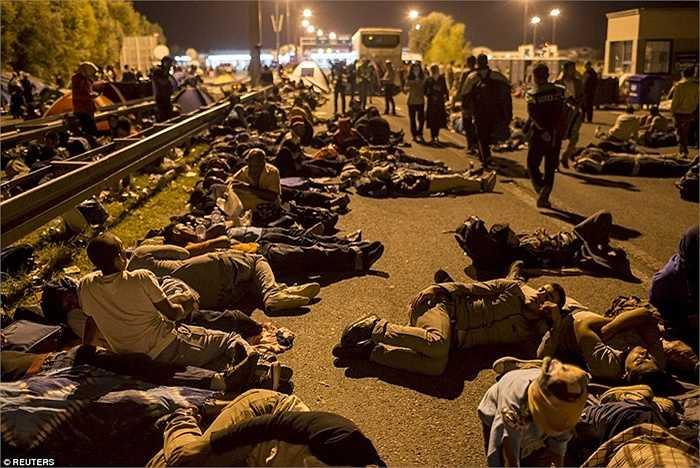 Con đường chính ở đường biên giới Hungary và Serbia đang tràn ngập những người tỵ nạn sau khi biên giới đã đóng cửa và họ không thể đến với châu Âu mà cũng không có đường quay trở lại