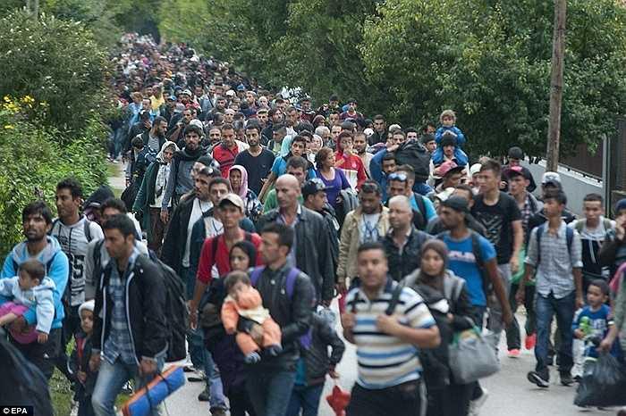 Hàng dài người tỵ nạn đang chờ đợi biên giới mở cửa