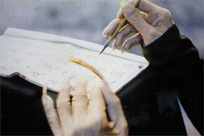 Bức ảnh 'Móng tay của nhà nho' thể hiện rõ quan niệm thời xưa rằng người có chữ không được làm công việc chân tay.