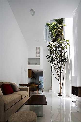 Biệt thự màu trắng này có diện tích 42 m2, nằm trong một khu dân cư ở TP HCM, với thiết kế khá ấn tượng.