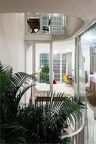 Phòng khách, sinh hoạt và bếp ăn được bố trí ở tầng trệt.
