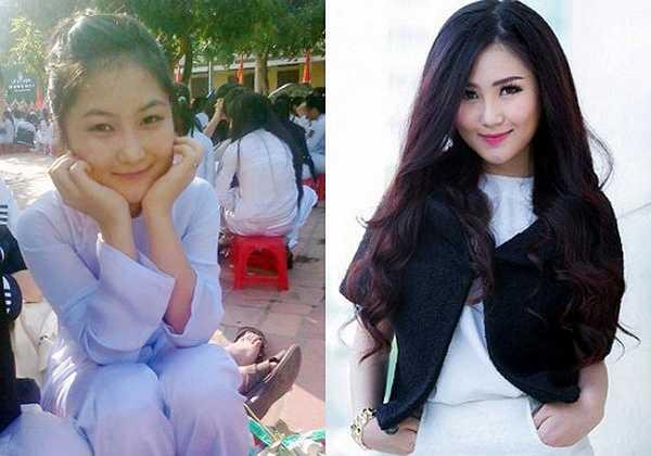 Hương Tràm mũm mĩm, đáng yêu khi còn đi học. Hiện tại, cô đã giảm cân và thon gọn hơn nhiều.