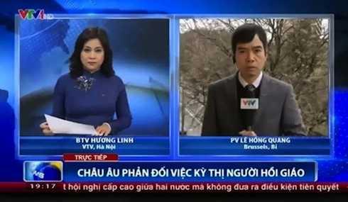 Vẻ mặt căng thẳng của PV Lê Hồng Quang trong xuất hiện trong bản tin Thời sự 19h.