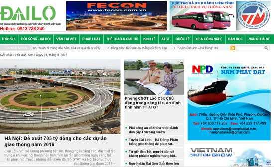 Trang dailo.vn vừa bị phạt 15 triệu đồng vì hai hành vi vi phạm.