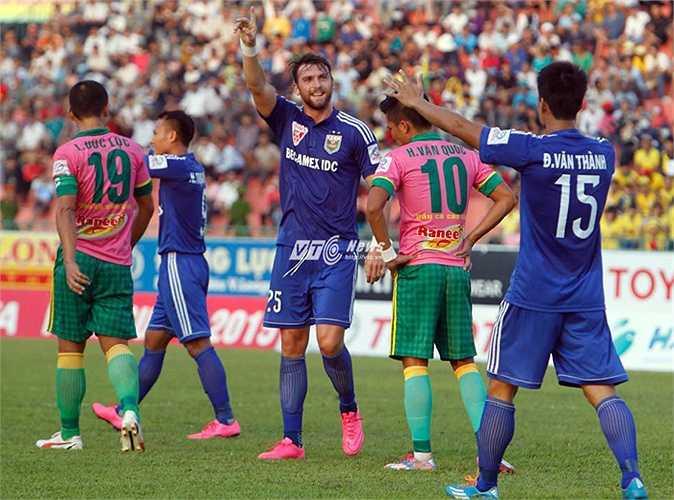 B.Bình Dương là đội có hiệu số bàn thắng bại tốt nhất V-League. (Ảnh: VSI)