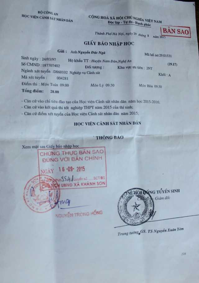 Giấy báo trúng tuyển Học viện Cảnh sát Nhân dân của Nguyễn Đức Ngà