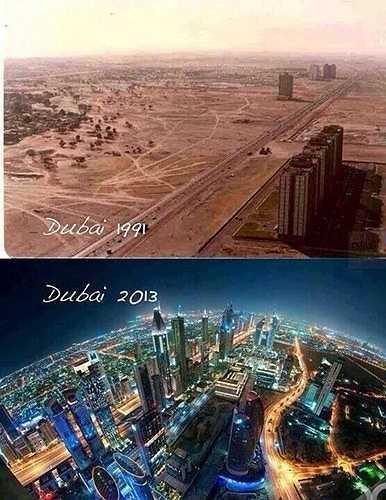 Dubai là thành phố của những thay đổi nhanh chóng nhất. Chỉ cần so sánh hai hình ảnh của Dubai vào năm 1991 và 2013