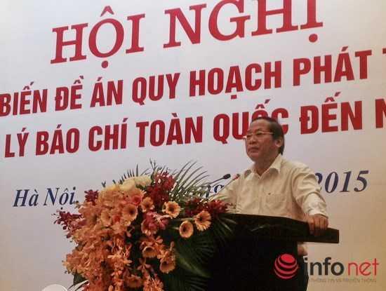 Thứ trưởng Bộ TT&TT Trương Minh Tuấn công bố nội dung Quy hoạch báo chí đến năm 2020.