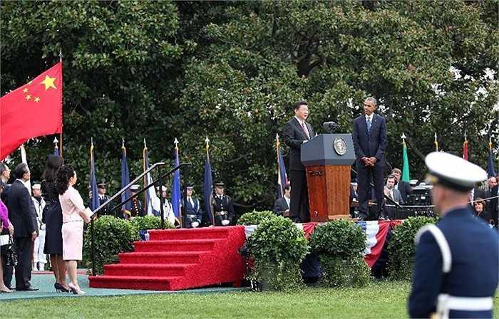 Chủ tịch Trung Quốc phát biểu tại lễ đón ở Nhà Trắng