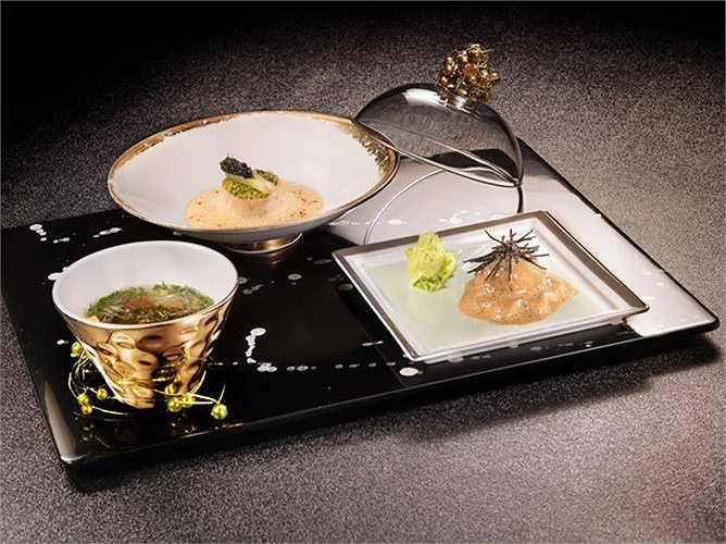 6. Joël Robuchon, Las Vegas, Nevada, Mỹ (890 USD/2 người, 18 món): Mỗi món ăn được bếp trưởng Robuchon của nhà hàng Joël Robuchon chế biến đều có mùi vị đậm đà, với sự tương phản hoàn hảo của các nguyên liệu. Le Caviar và trứng cá hồi Osetra là hai món nổi tiếng nhất tại nhà hàng này