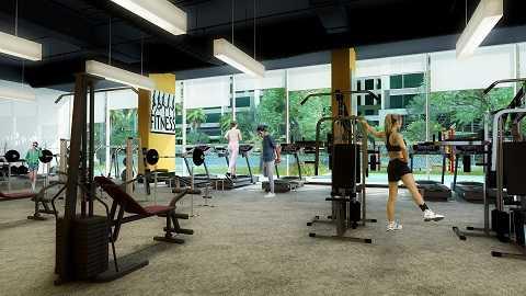 Phòng tập Gym, với các thiết bị máy móc hiện đại, đạt tiêu chuẩn quốc tế