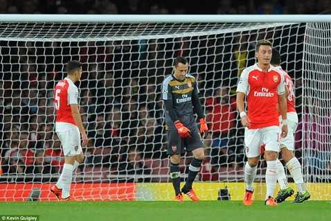 Arsenal thua trận thứ 2 và rất có thể bị loại ngay từ vòng bảng