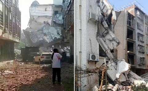 Nhiều ngôi nhà bị sập sau hàng loạt các vụ nổ liên tiếp