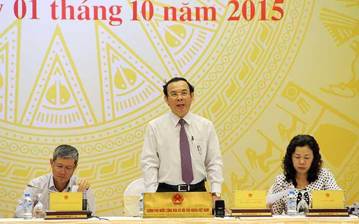 Bộ trưởng Nguyễn Văn Nên trả lời về dự án tòa nhà 8B Lê Trực (Hà Nội) chiều 1/10 (Ảnh: Phạm Thịnh)