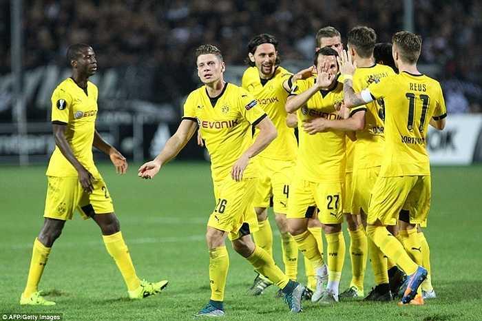 Gonzalo Castro gỡ hòa cho Dortmund phút 72 sau đường chuyền của Schmelzer. Hòa 1-1 với PAOK là trận thứ 3 liên tiếp đội bóng vùng Ruhr không biết tới chiến thắng
