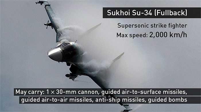 Máy bay ném bom tấn công Su-34 của Quân đội Nga đứng đầu danh sách các chiến cơ không kích IS ở Syria